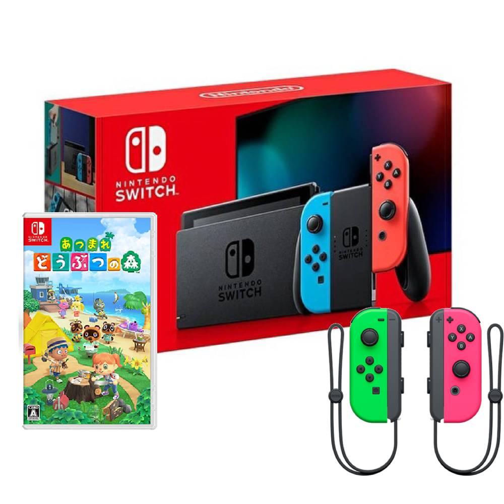 【預購】Nintendo Switch 主機 電光紅藍 (電池加強版)+Joy-Con 控制器 左右手套組 粉紅綠+動物森友會 中文版