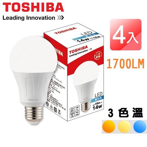 TOSHIBA 二代 14W LED廣角球泡型燈泡 4入 -黃光