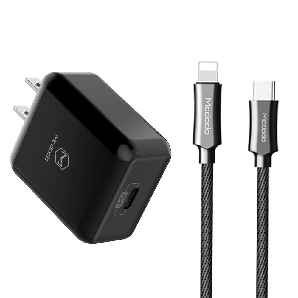 【Mcdodo台灣官方】PD/Lightning/Type-C充電器充電線充電頭快充頭快充線 120cm 麥多多 黑色充電頭+黑色充電線
