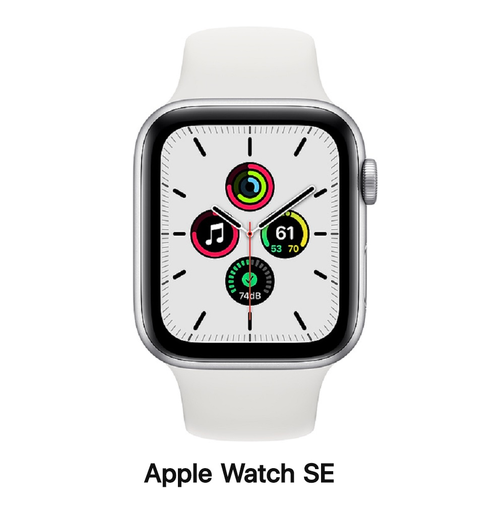 Apple Watch SE 44mm LTE版 銀鋁錶殼配白運動錶帶(MYEV2TA/A)