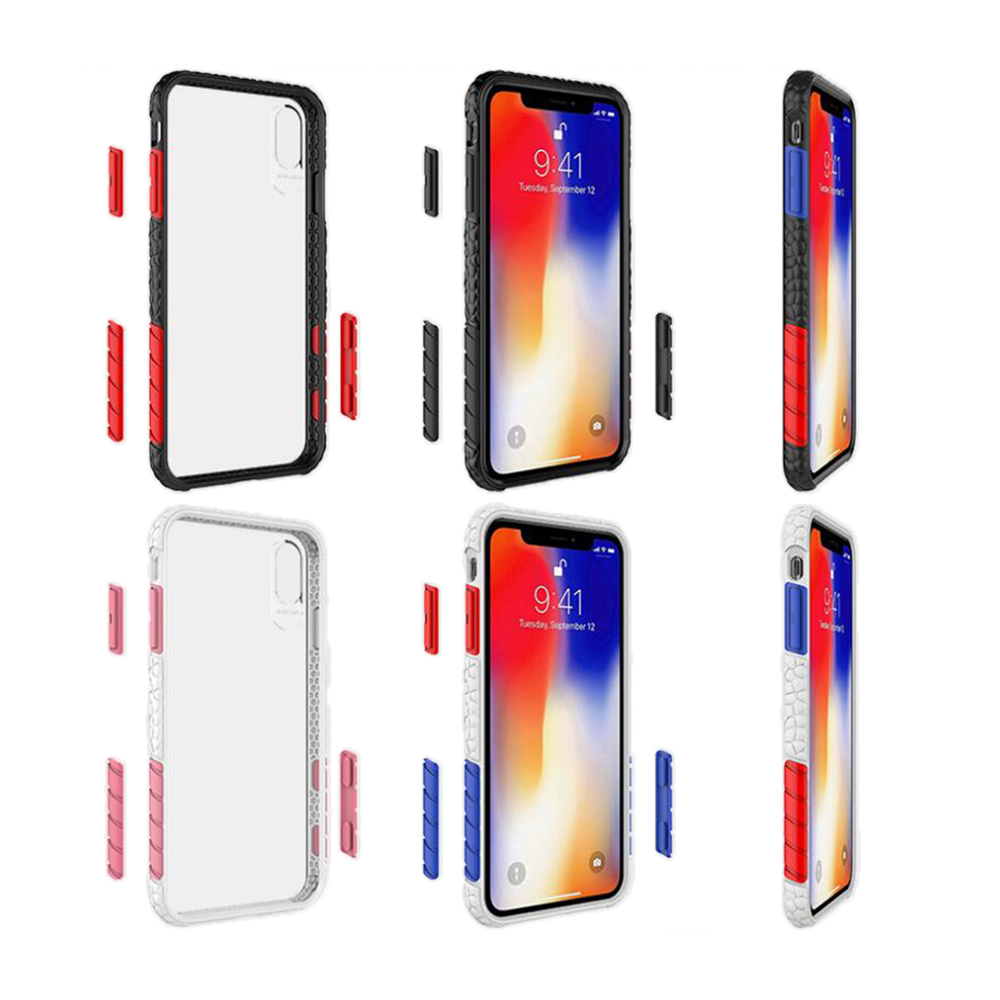 QinD Apple iPhone Xs/X 極勁保護殼(黑框/藍紅)