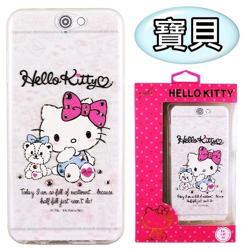 【Hello Kitty】HTC One A9 彩鑽透明保護軟套(寶貝)