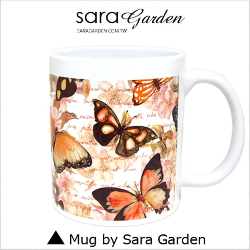 【Sara Garden】客製化 陶瓷 馬克杯 咖啡杯 蝴蝶碎花