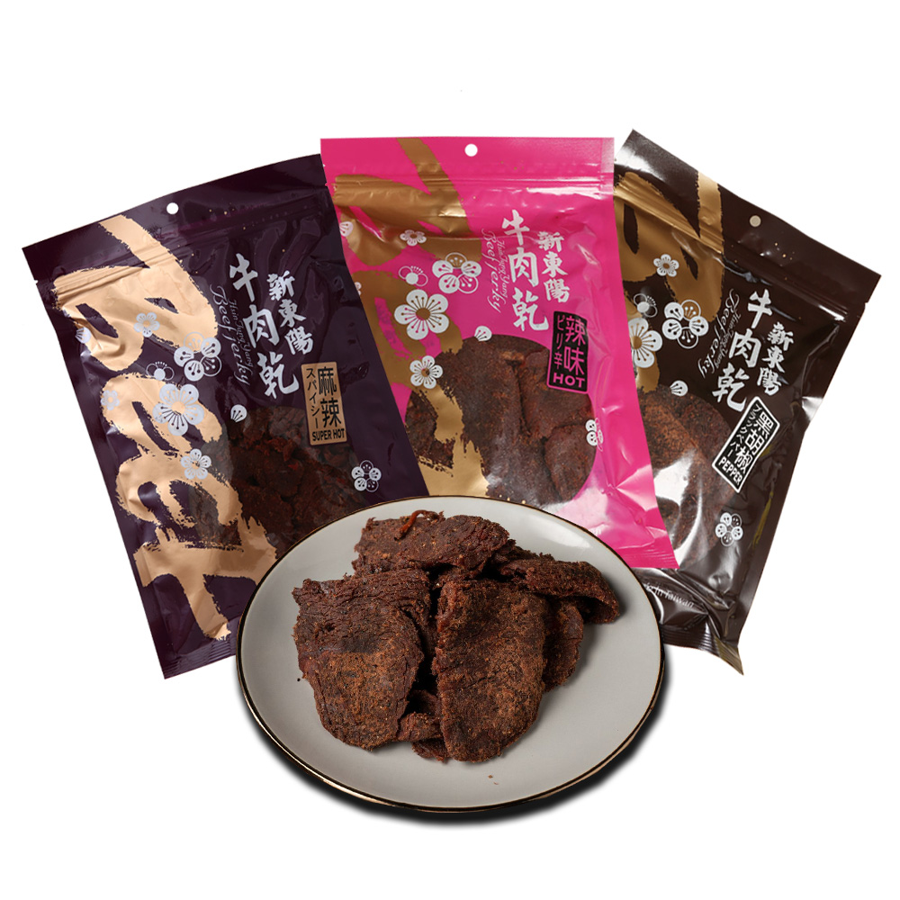 【新東陽】辣味綜合牛肉乾*3大包(辣味230g+麻辣230g+黑胡椒230g)