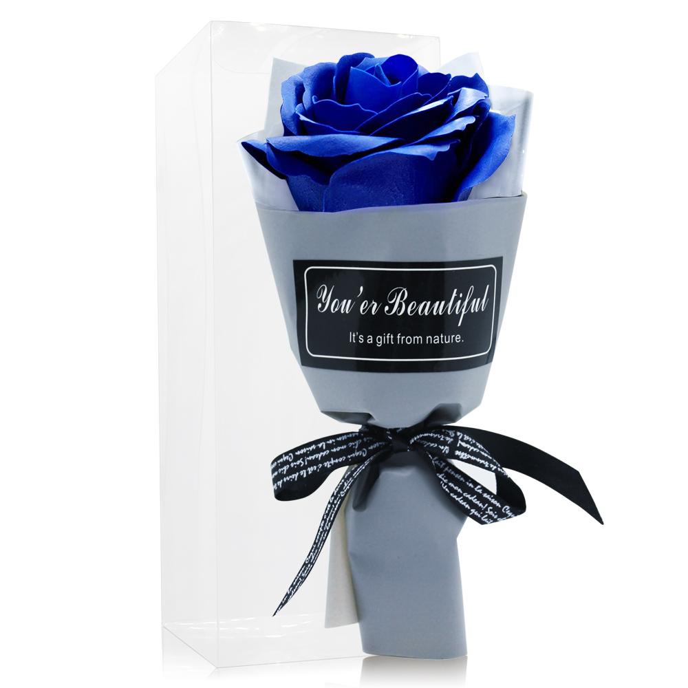 O'Pretty 歐沛媞 浪漫玫瑰香皂花束-寶藍(17cm)[附外盒]-婚禮小物宴客禮物適用