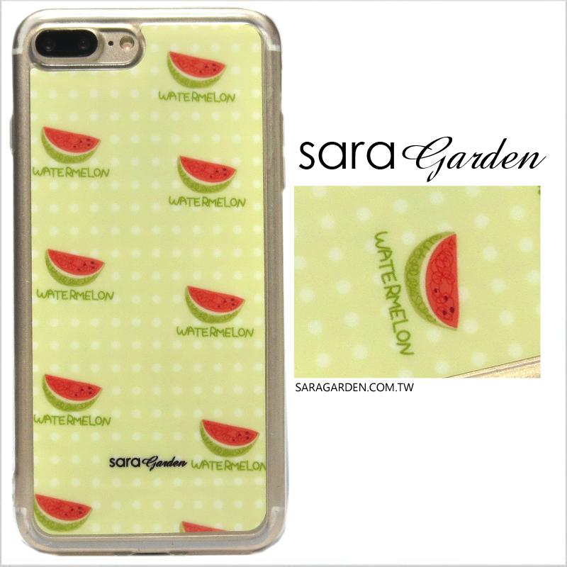 【Sara Garden】客製化 軟殼 蘋果 iPhone7 iphone8 i7 i8 4.7吋 手機殼 保護套 全包邊 掛繩孔 手繪水玉西瓜