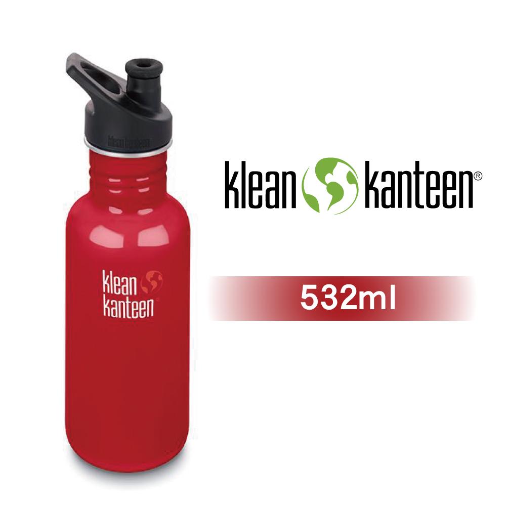 【美國Klean Kanteen】窄口不鏽鋼水瓶532ml-寶石紅