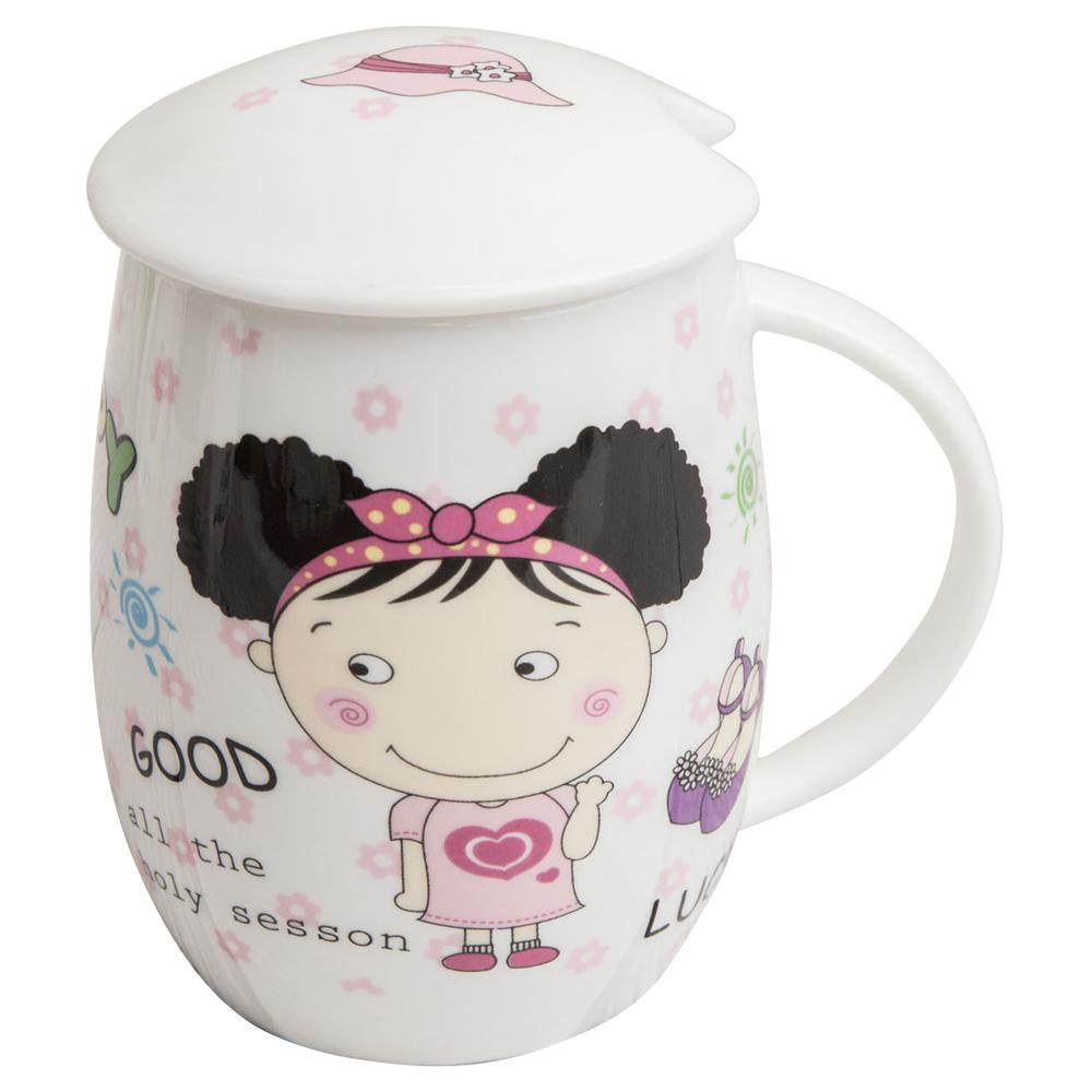 【Beatrice碧翠絲】蛋型骨瓷馬克杯附蓋-女孩