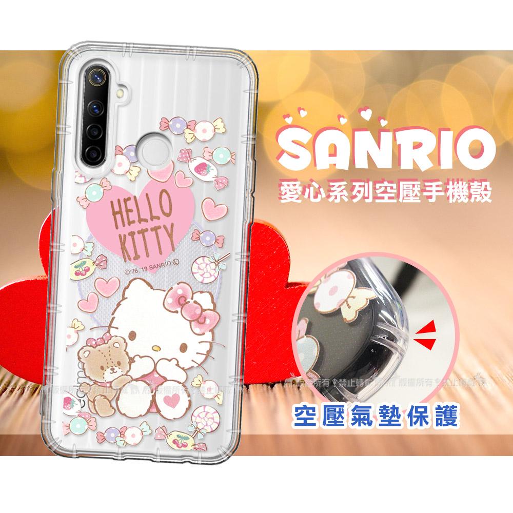 三麗鷗授權 Hello Kitty凱蒂貓 realme 5/C3/6i 共用 愛心空壓手機殼(吃手手)