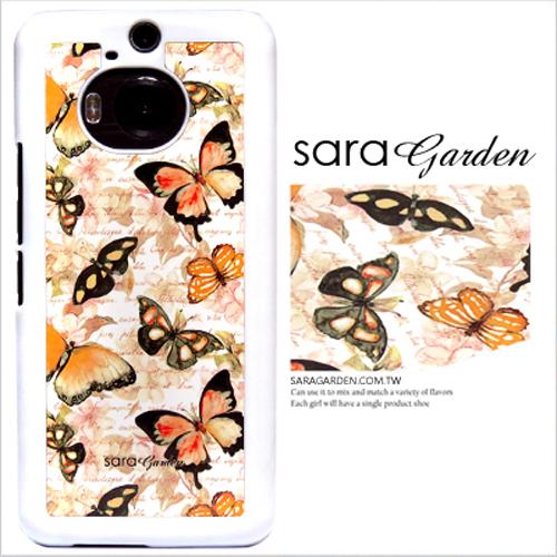 客製化 原創 HTC M8 手機殼 透明 硬殼 碎花蝴蝶