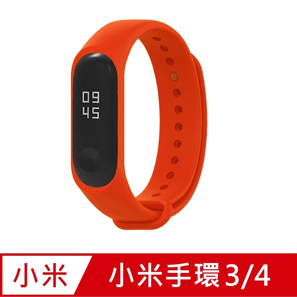 小米手環4代/3代通用 矽膠運動替換錶帶-紅色