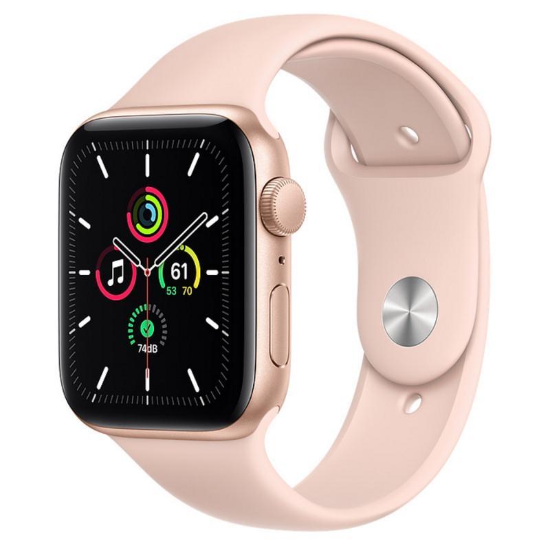 Apple Watch SE GPS 44mm 金色鋁金屬-粉沙色運動型錶帶【新品上市 現貨賣場】