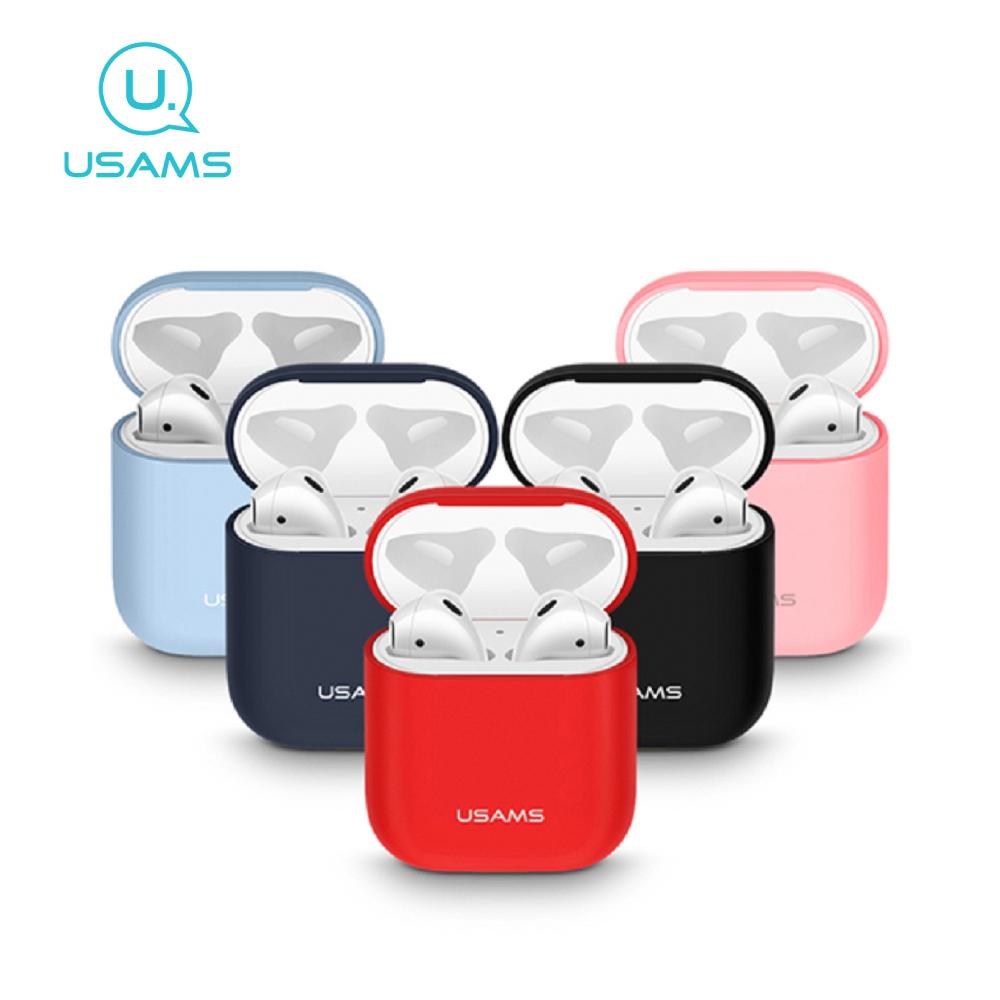 USAMS AirPods耳機液態矽膠套 BH502 - 淺藍色
