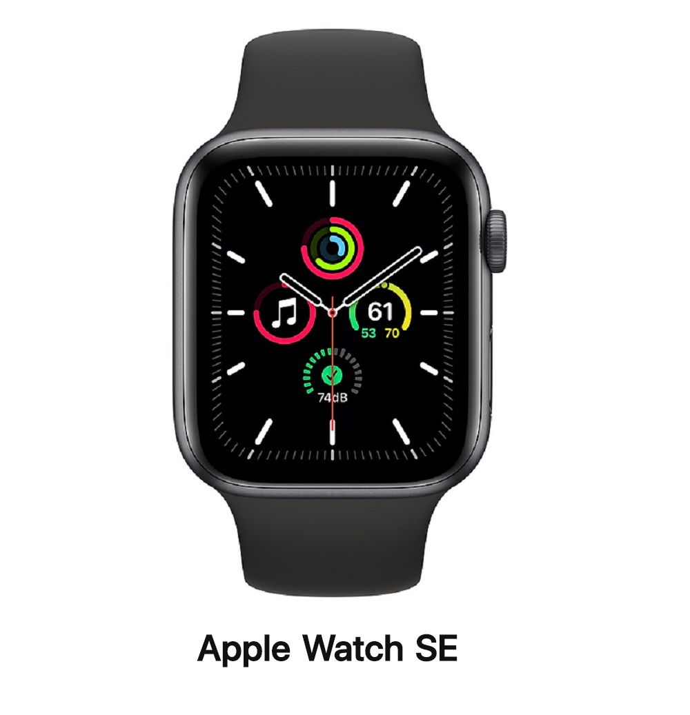 Apple Watch SE 44mm GPS版 太空灰鋁錶殼配黑運動錶帶(MYDT2TA/A)