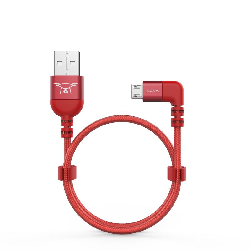 【ADAM】Micro USB - USB 金屬遙控線 30cm (B30B) - 紅