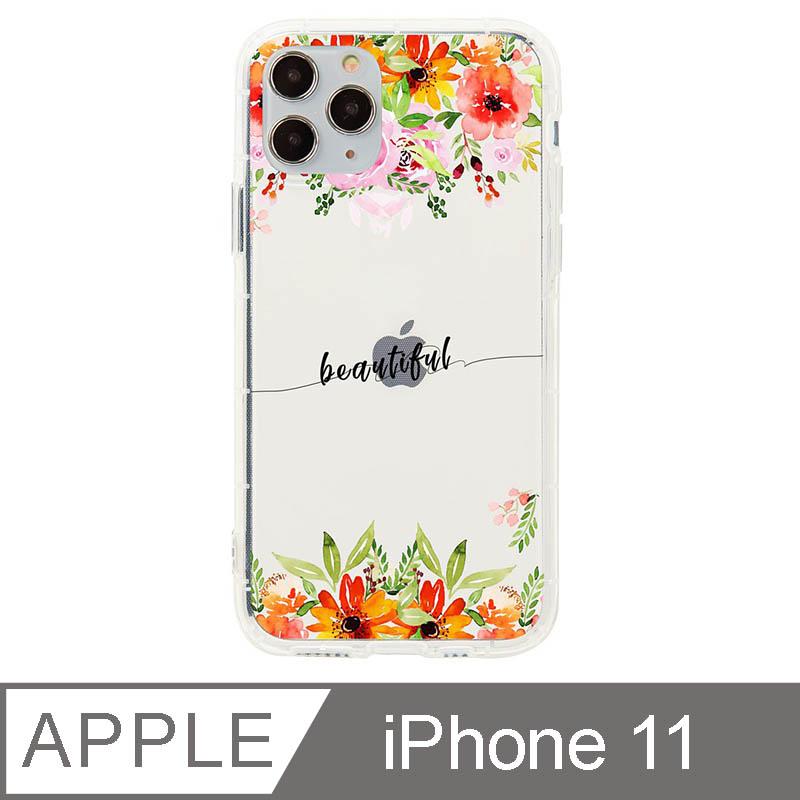 iPhone 11 6.1吋 晨粉芙蓉設計防摔透明iPhone手機殼 濃烈上下花
