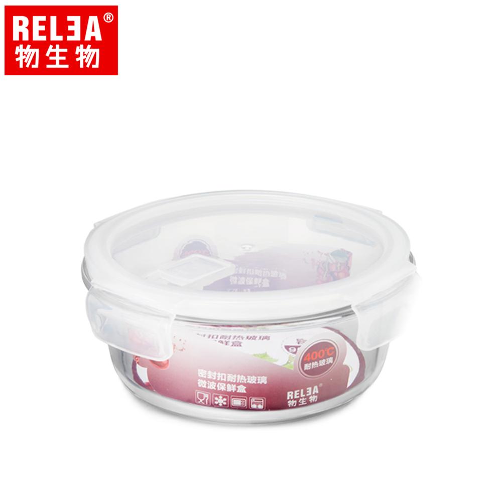 【香港RELEA物生物】620ml圓形耐熱玻璃微波保鮮盒