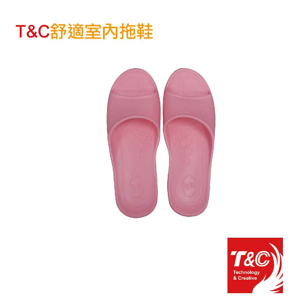 T&C舒適室內女拖-粉紅色(尺寸M / 2雙入)贈涼感巾*1(隨機)