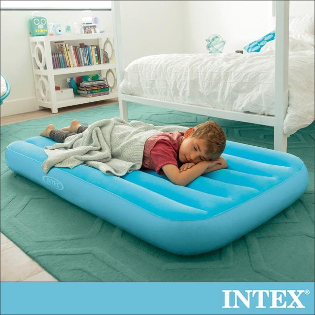 【INTEX】兒童充氣床88x157x高18cm-水藍色(66803)