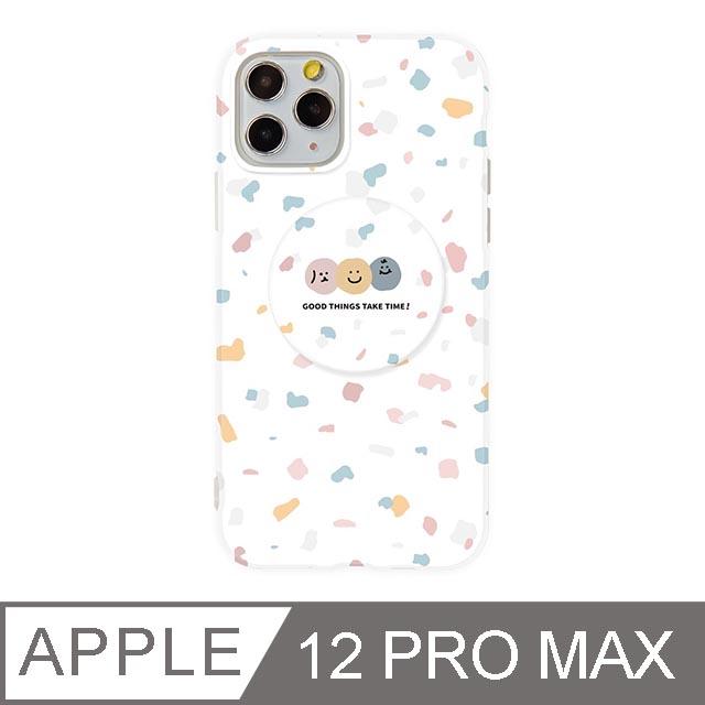 iPhone 12 Pro Max 6.5吋 Smilie笑臉水磨石氣囊支架iPhone手機殼 碎花三胞胎