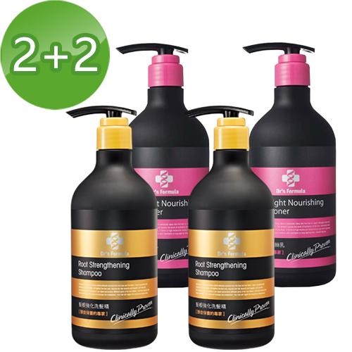 《台塑生醫》Dr's Formula髮根強化洗髮精580g*2+水律輕盈潤絲乳530g*2