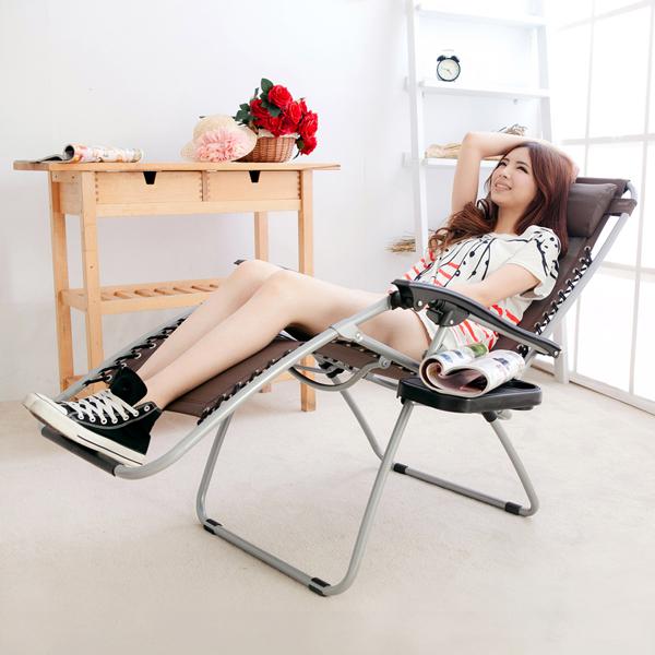 【LIFECODE】特斯林透氣無限段折疊躺椅-附置物杯架 (咖啡色)