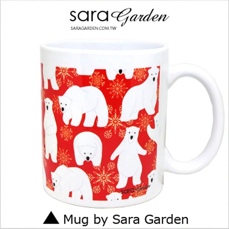 【Sara Garden】客製化 陶瓷 馬克杯 咖啡杯 手繪可愛北極熊雪花