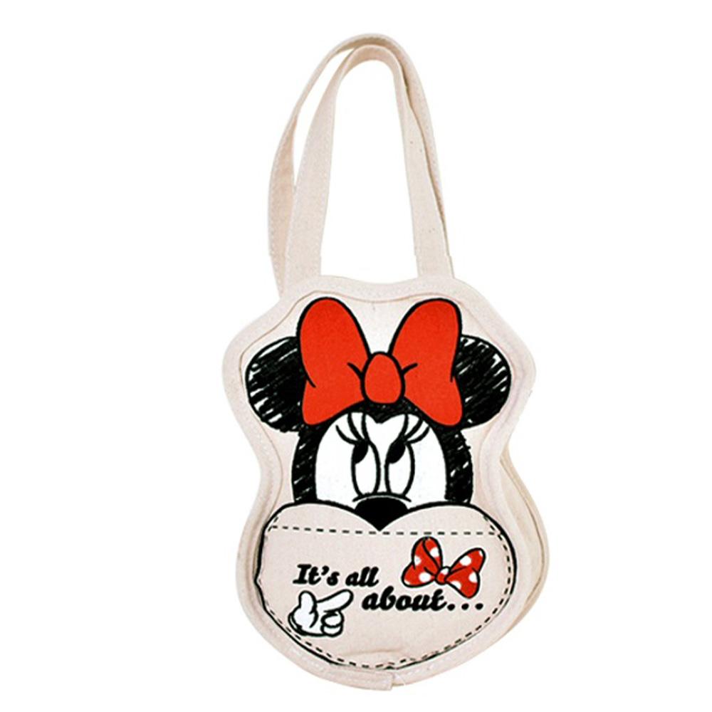 迪士尼系列 多功能帆布飲料袋-愛心米妮款
