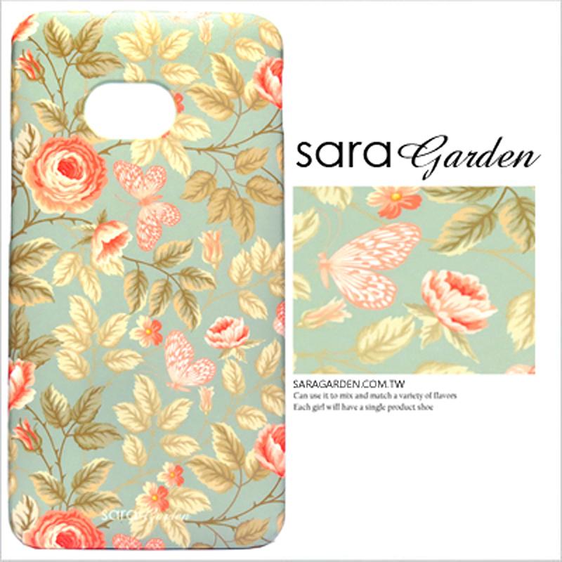 【Sara Garden】客製化 手機殼 HTC M7 玫瑰花 碎花 蝴蝶 保護殼 硬殼 限定