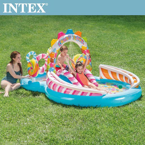 【INTEX】糖果屋戲水游泳池滑水道295x191x130cm(374L)適用3歲+(57149)