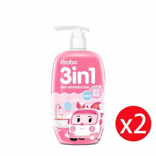 博寶兒蓮花萃取洗髮沐浴泡泡露-POLI 安寶(粉)莓果香500ml*2瓶