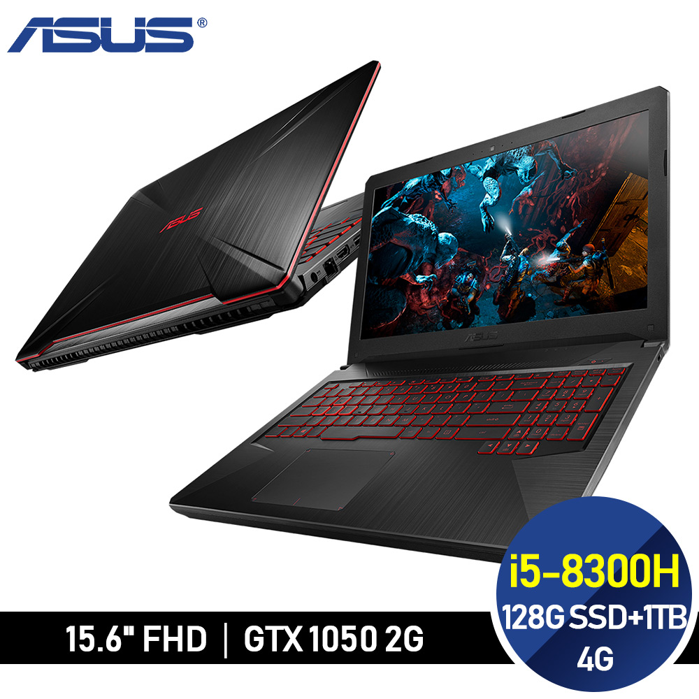 ASUS 電競 FX504GD-0201A8300H (i5-8300H/4G/128G M.2 SSD+1TB/GTX1050) 隕石黑