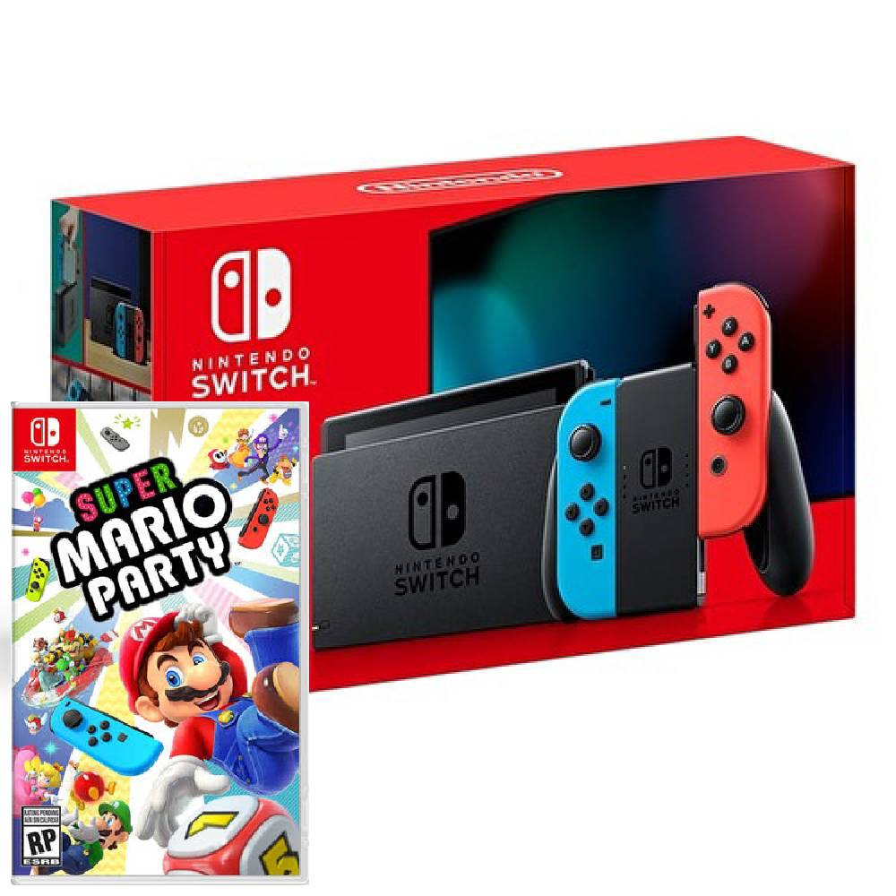 Nintendo Switch 主機 電光紅藍 (電池加強版)+超級瑪利歐派對 亞版 中文版