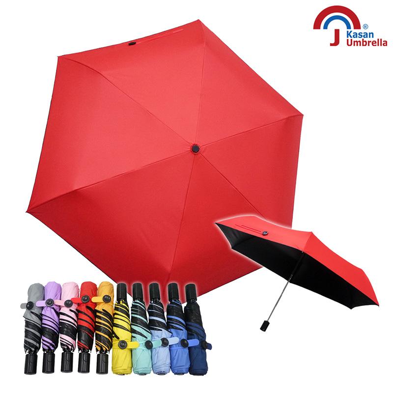 【Kasan 晴雨傘】抗風防晒黑膠自動小黑傘-大紅
