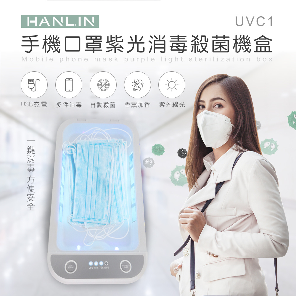 HANLIN-UVC1口罩有效紫光殺菌消毒盒
