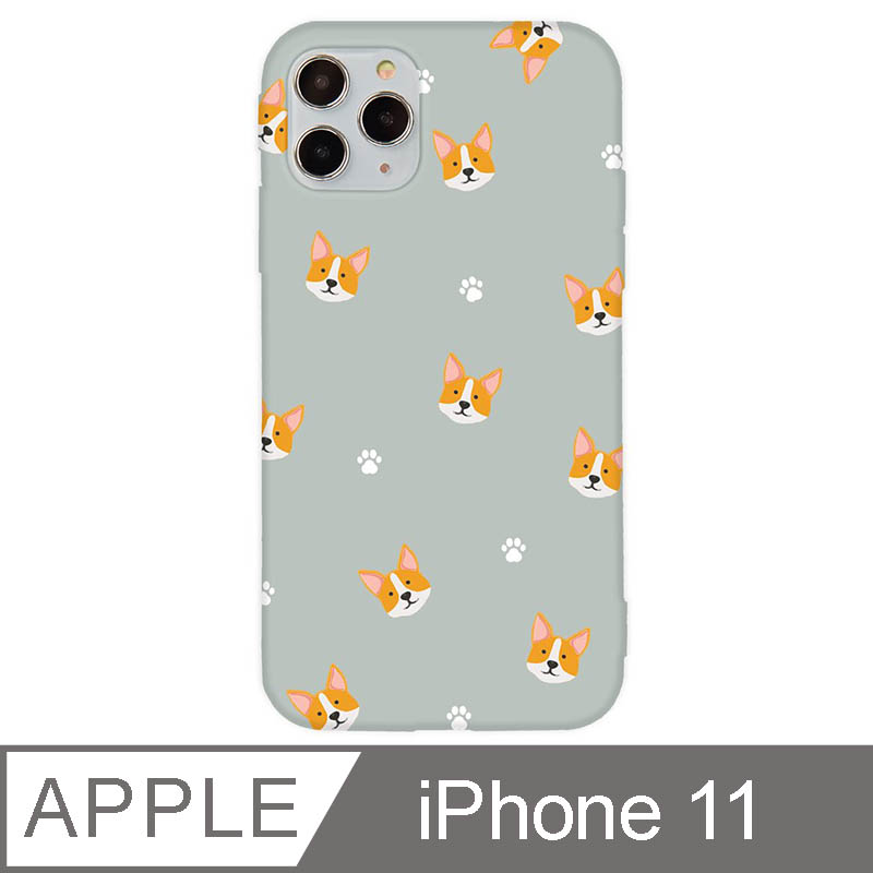 iPhone 11 6.1吋 萌寵碎花設計iPhone手機殼 柯基 灰色