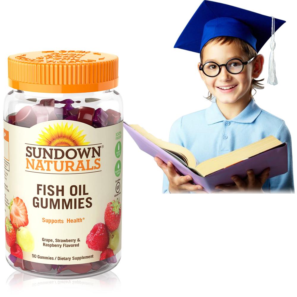 【超值優惠】Sundown日落恩賜 兒童精明魚油QQ軟糖(50粒/瓶)-商品有效期至2020/9月底