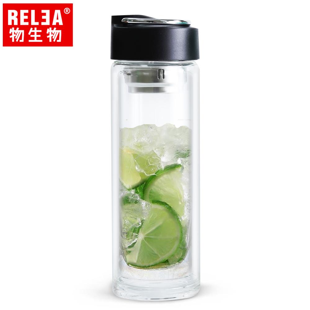【香港RELEA物生物】390ml悅己不鏽鋼提手耐熱雙層玻璃杯(曜石黑)