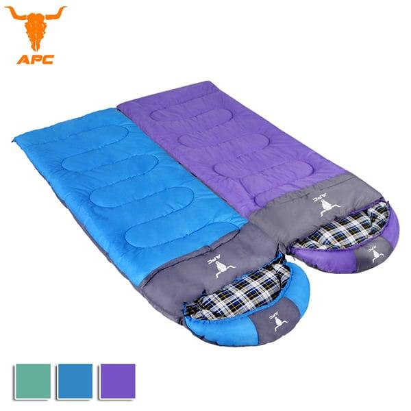 APC《純棉格子》秋冬加寬可拼接全開式睡袋-藍色+紫色