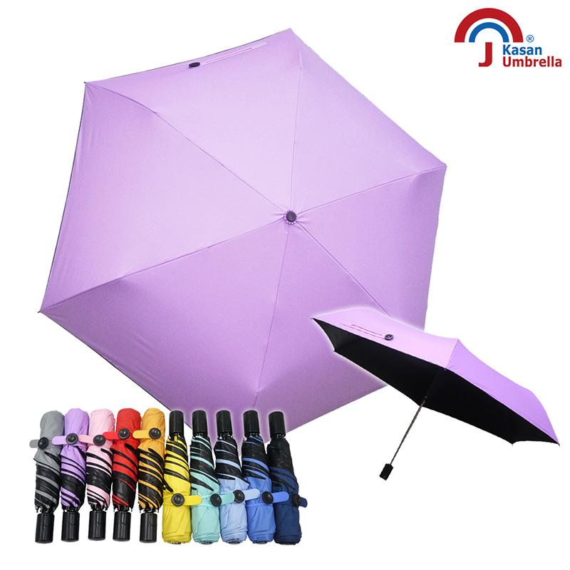 【Kasan 晴雨傘】抗風防晒黑膠自動小黑傘-粉紫