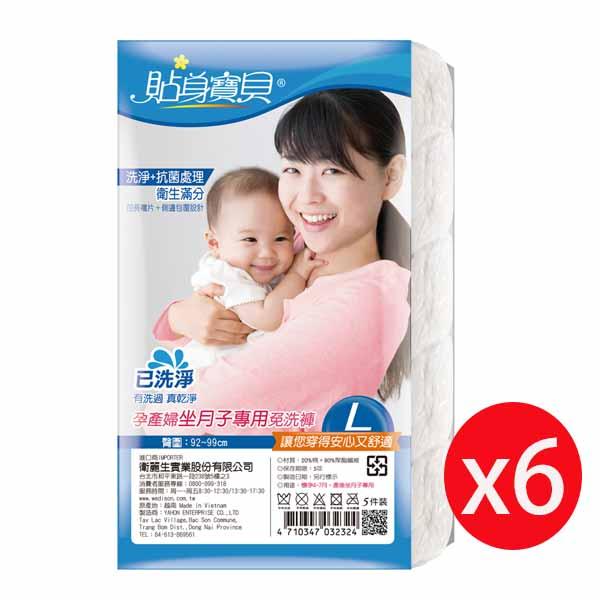 貼身寶貝坐月子產婦專用免洗褲 三角 舒適棉感(5入) L *6包