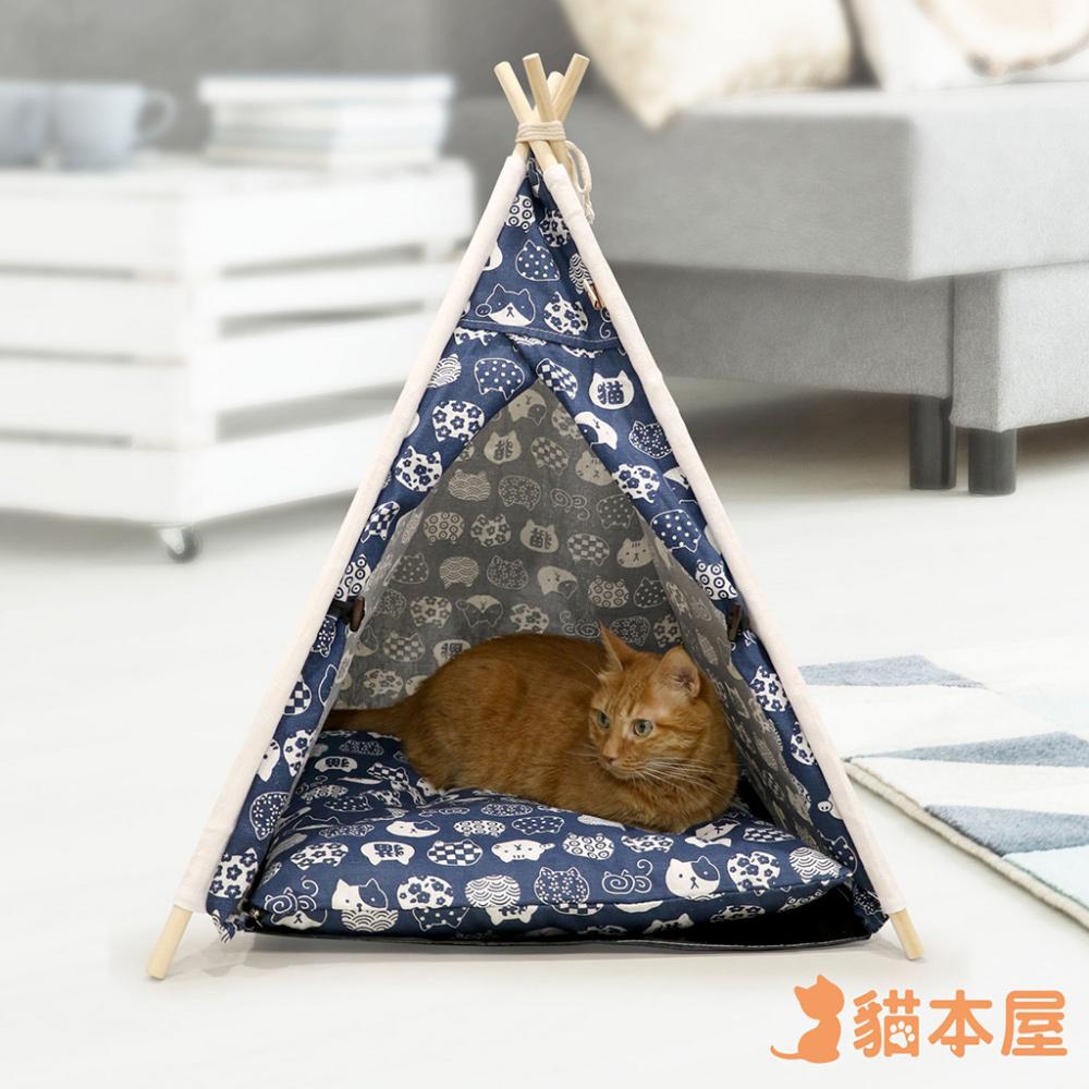 貓本屋 狗窩/貓窩 可拆洗四季通用 四角型亞麻寵物帳篷-貓咪藍