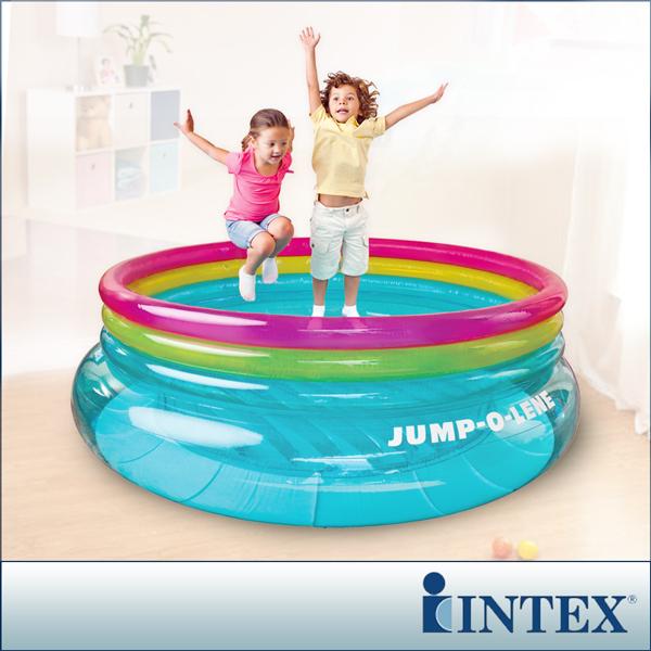 【INTEX】兒童圓形三色透明跳跳床/球池-寬203cm(48267NP)