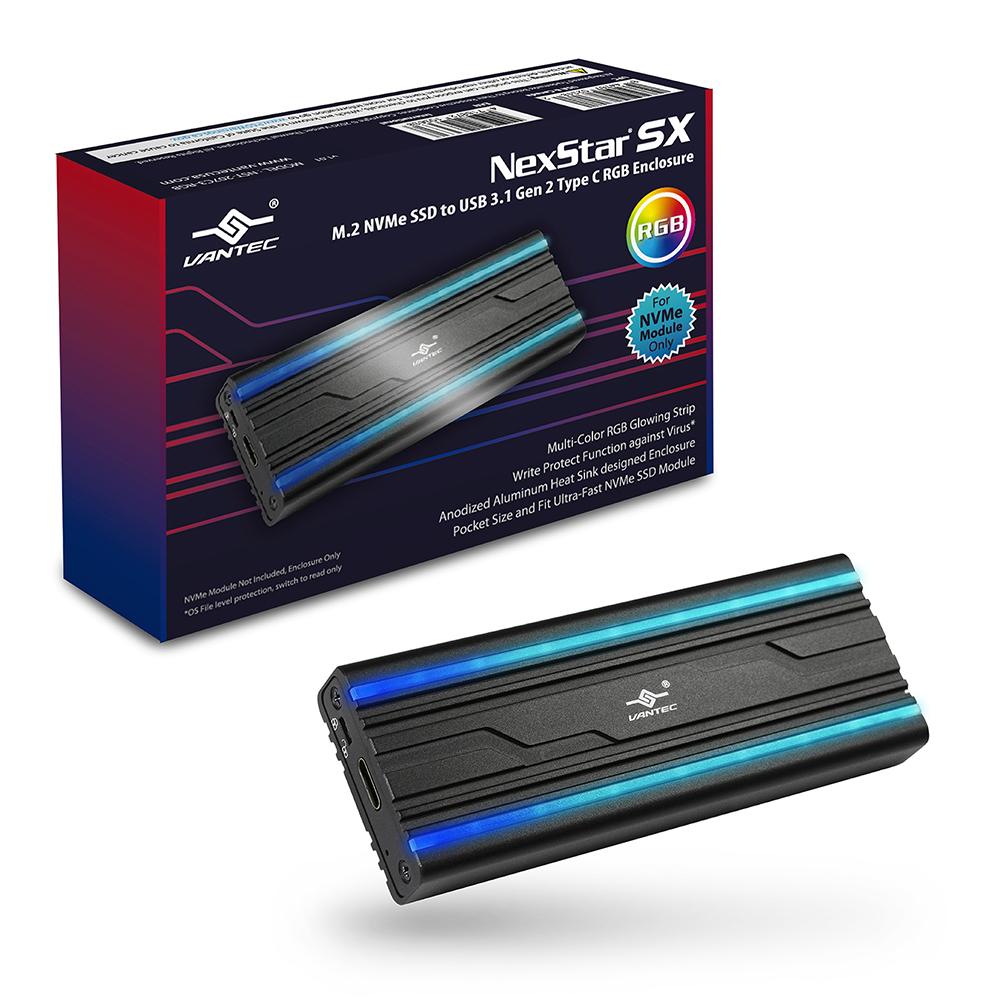 新品!! VANTEC 凡達克NexStar SX M.2 NVMe SSD To USB 3.1 Gen 2 Type C RGB
