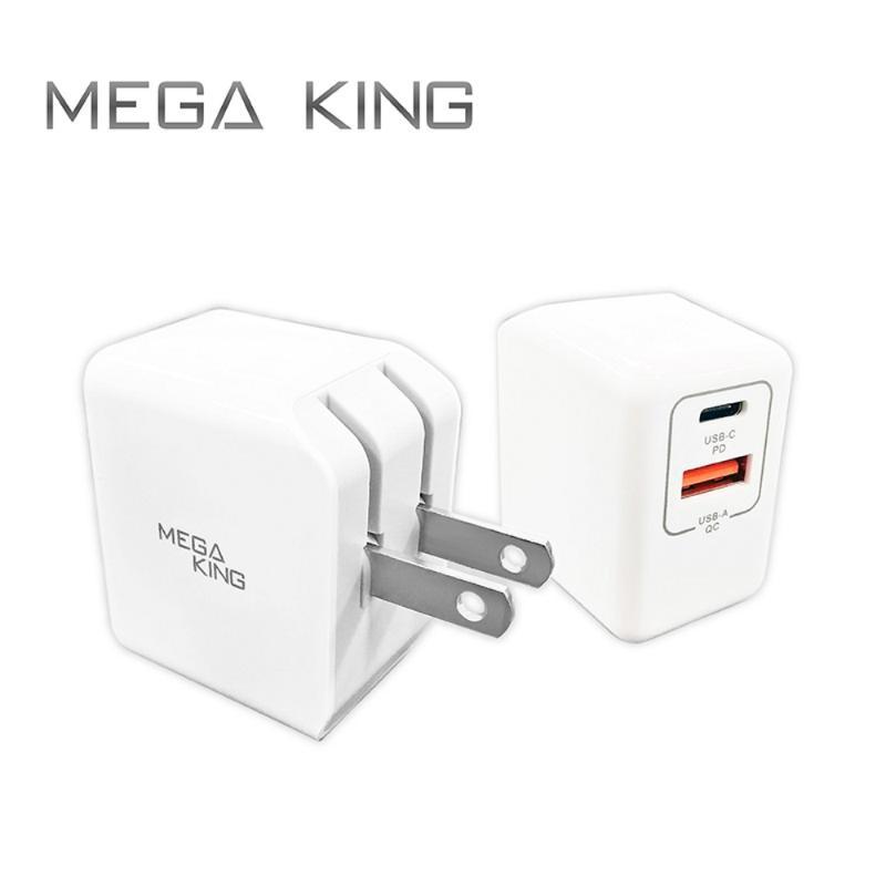 MEGA KING 雙輸出旅充頭18W (A+C) PD/QC 白