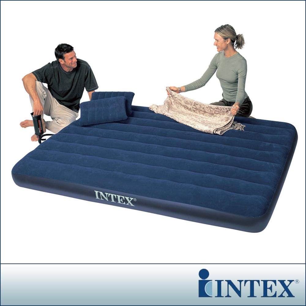 【INTEX】雙人加大植絨充氣床墊(寬152cm)-特惠組合(附手壓幫浦+枕頭*2)(68765)