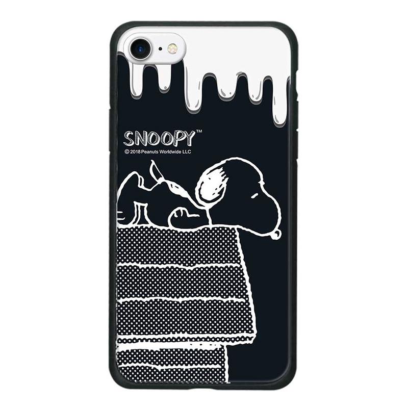 【正版授權】SNOOPY iPhone iPhone7/8 4.7吋 全包邊鋼化玻璃保護殼_黑色幽默
