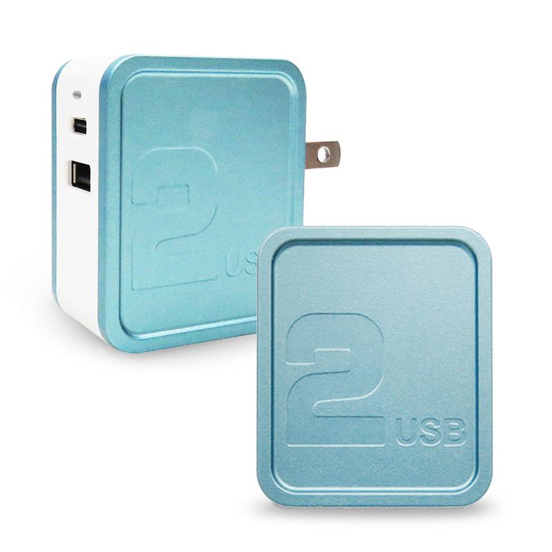 POLARIS PD+QC3.0 雙輸出快充充電器_淺藍