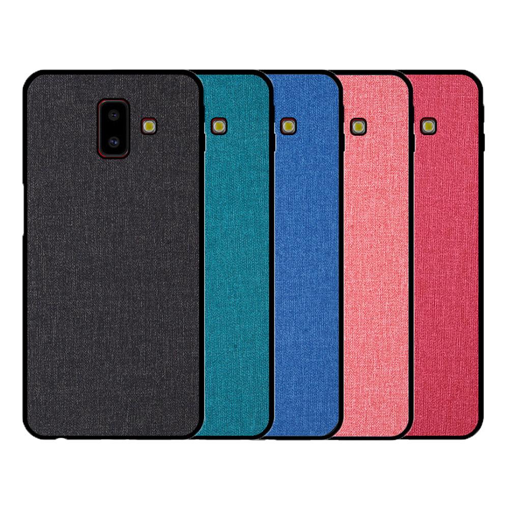 QinD SAMSUNG Galaxy J6+ 布藝保護套(格調藍)