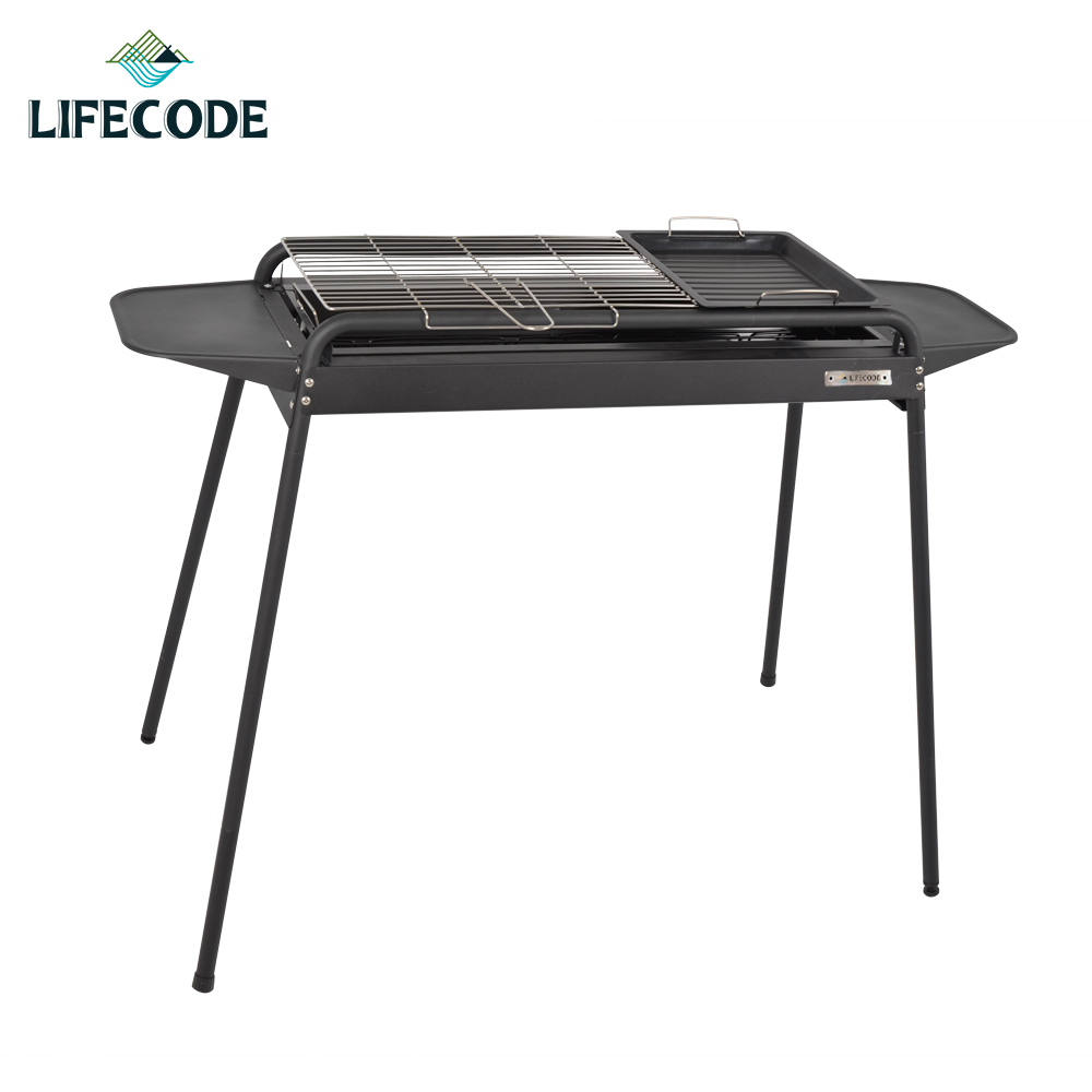 【LIFECODE】黑武士大型烤肉架-二段高度(含烤盤+調料盤x2)